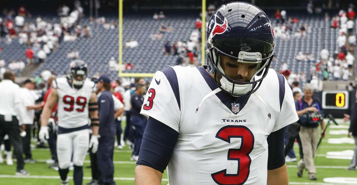 Houston Texans quarterback Tom Savage (3) walks off the field after the Texans 29-7 loss to the Jacksonville Jaguars at NRG Stadium on Sunday, Sept. 10, 2017, in Houston. ( Brett Coomer / Houston Chronicle )
