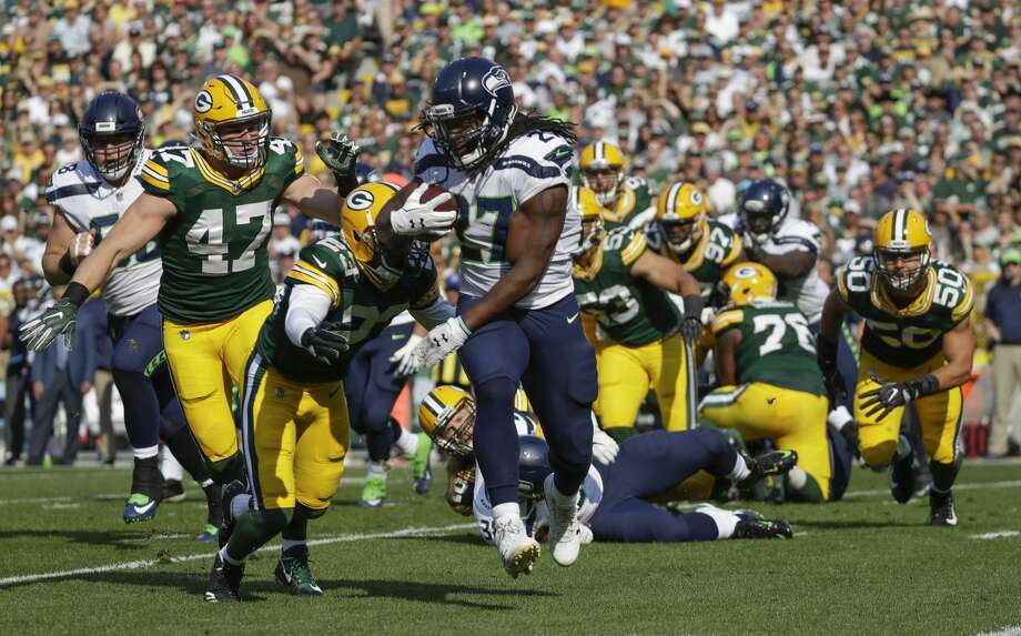 Seattle Seahawks' Eddie Lacy runs during the first half of an NFL football game against the Green Bay Packers Sunday, Sept. 10, 2017, in Green Bay, Wis. (AP Photo/Morry Gash) Photo: Morry Gash/AP