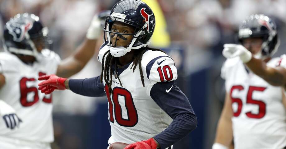 PHOTOS: Jaguars 29, Texans 7Houston Texans wide receiver DeAndre Hopkins (10) celebrates after his touchdown in the third quarter of an NFL football game at NRG Stadium, Sunday, Sept. 10, 2017, in Houston.  ( Karen Warren / Houston Chronicle )Browse through the photos to see action from the Texans' season-opening loss to the Jaguars on Sunday. Photo: Karen Warren/Houston Chronicle
