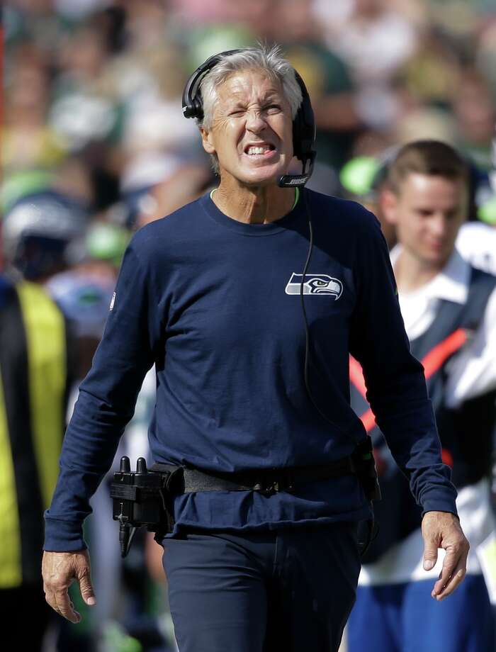 Seattle Seahawks head coach Pete Carroll reacts during the first half of an NFL football game against the Green Bay Packers Sunday, Sept. 10, 2017, in Green Bay, Wis. (AP Photo/Jeffrey Phelps) Photo: Jeffrey Phelps/AP
