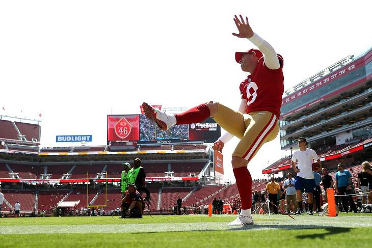 San Francisco 49ers' kicker Robbie Gould warms up before Niners play Carolina Panthers in NFL game at Levi's Stadium in Santa Clara, Calif., on Sunday, September 10, 2017.