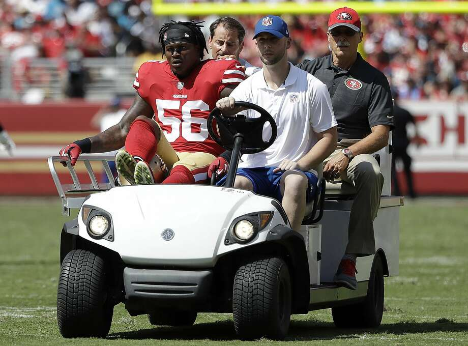 San Francisco 49ers linebacker Reuben Foster (56) is carted off the field during the first half of an NFL football game against the Carolina Panthers in Santa Clara, Calif., Sunday, Sept. 10, 2017. (AP Photo/Marcio Jose Sanchez) Photo: Marcio Jose Sanchez, Associated Press