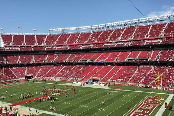 Attendance was sparse at Levi's Stadium for the San Francisco 49ers home opener against the Carolina Panthers on Sunday, Sept. 10, 2017. This photo was taken at halftime.