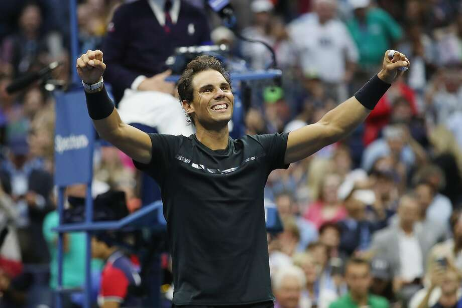 NEW YORK, NY - SEPTEMBER 10:  Rafael Nadal of Spain celebrates defeating Kevin Anderson of South Africa in their Men's Singles Finals match on Day Fourteen of the 2017 US Open at the USTA Billie Jean King National Tennis Center on September 10, 2017 in the Flushing neighborhood of the Queens borough of New York City. Rafael Nadal defeated Kevin Anderson in the third set with a score of 6-3, 6-3, 6-4.  (Photo by Matthew Stockman/Getty Images) Photo: Matthew Stockman, Getty Images