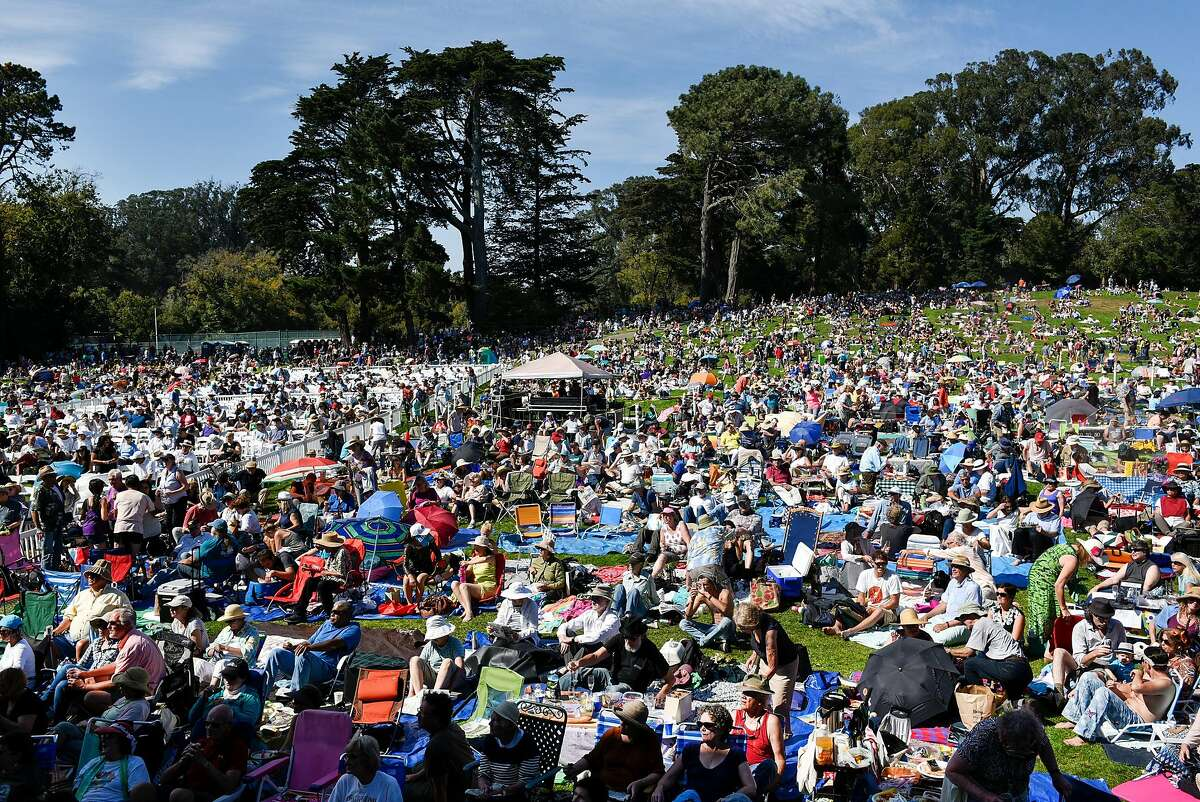 Fans brave the heat during Opera in the Park in San Francisco, Calif., on Sunday September 10, 2017.