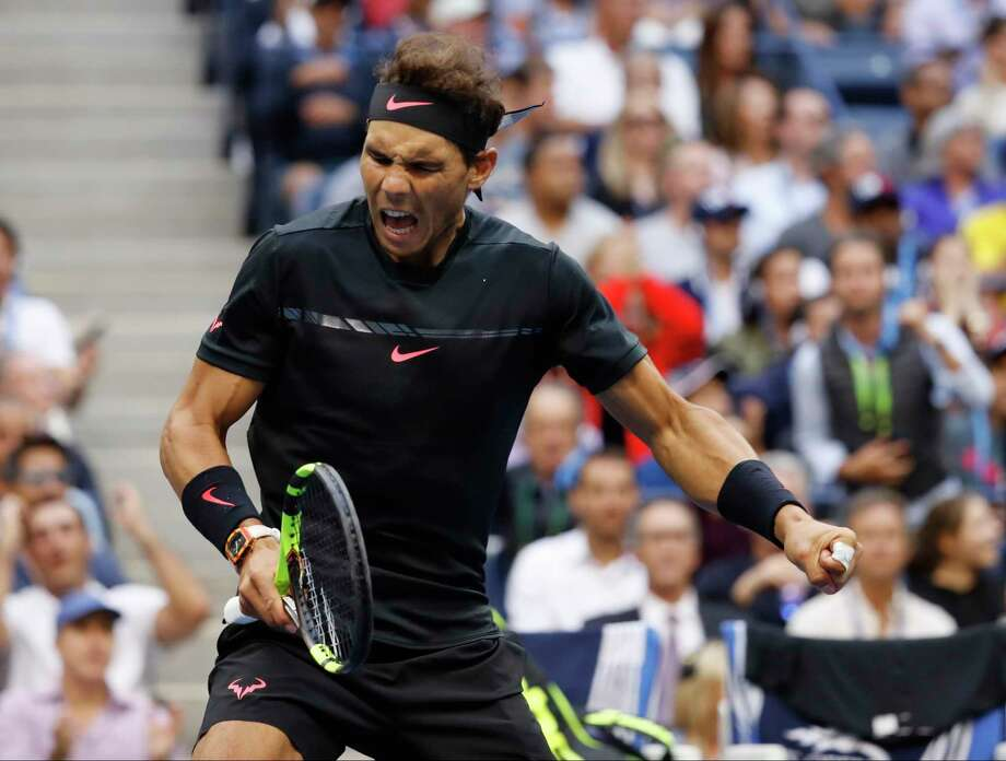 Rafael Nadal, of Spain, reacts after scoring a point against Kevin Anderson, of South Africa, during the men's singles final of the U.S. Open tennis tournament, Sunday, Sept. 10, 2017, in New York. (AP Photo/Adam Hunger) Photo: Adam Hunger, FRE / FR110666