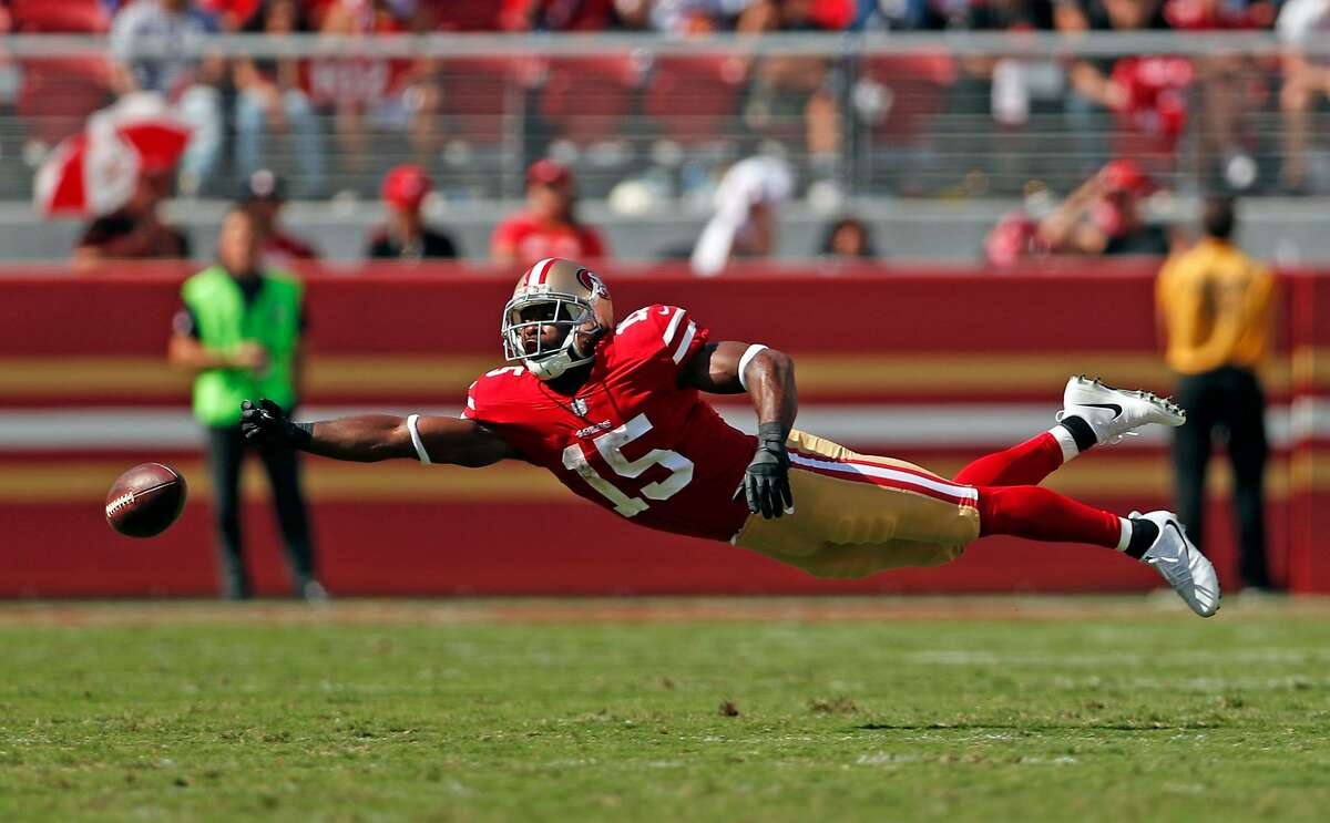 San Francisco 49ers' Pierre Garcon can't reach a pass by Brian Hoyer in 3rd quarter of Carolina Panthers' 23-3 win in NFL game at Levi's Stadium in Santa Clara, Calif., on Sunday, September 10, 2017.