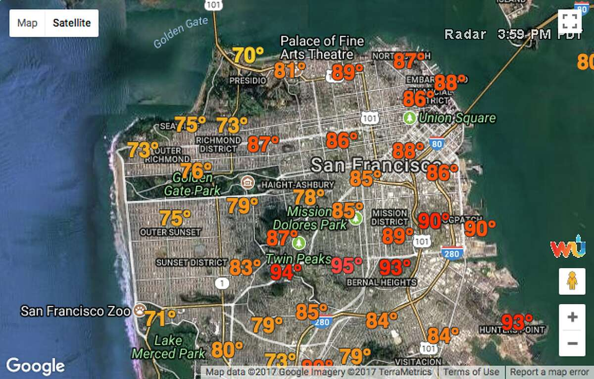 The Weather Underground map on SFGATE's weather page reported a range of temperatures in San Francisco Sunday afternoon.