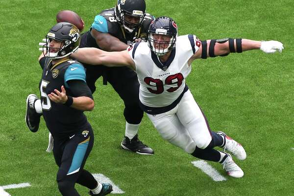 Houston Texans defensive end J.J. Watt (99) attempts to sack Jacksonville Jaguars quarterback Blake Bortles (5) during the first quarter of an NFL football game at NRG Stadium on Sunday, Sept. 10, 2017, in Houston. ( Yi-Chin Lee / Houston Chronicle )