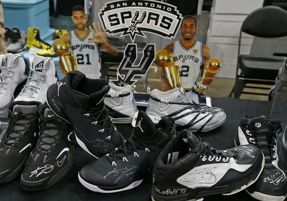 Detail of Juan De Leon's collection of player exclusive shoes from Kawhi  Leonard, Manu Ginobili