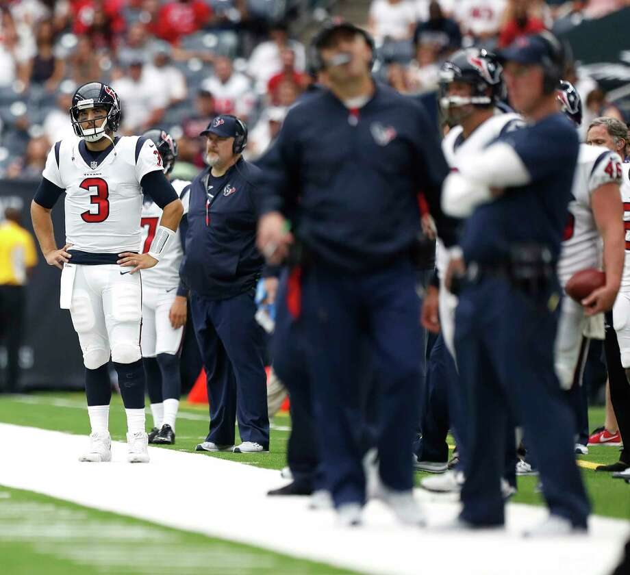 Another season, another Week 1 benching at quarterback for the Texans, this time with Tom Savage (3) not even making it into the second half in a 29-7 loss to the Jaguars at NRG Stadium. Photo: Karen Warren, Staff / @ 2017 Houston Chronicle