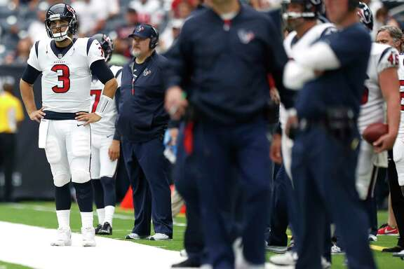 Another season, another Week 1 benching at quarterback for the Texans, this time with Tom Savage (3) not even making it into the second half in a 29-7 loss to the Jaguars at NRG Stadium.