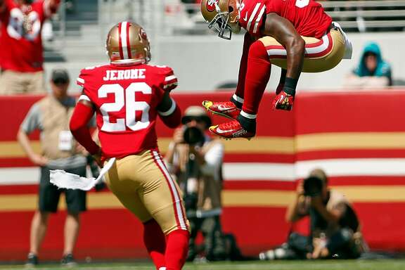San Francisco 49ers' Reuben Foster celebrates breaking up a pass in 1st quarter of 23-3 loss to Carolina Panthers during NFL game at Levi's Stadium in Santa Clara, Calif., on Sunday, September 10, 2017.