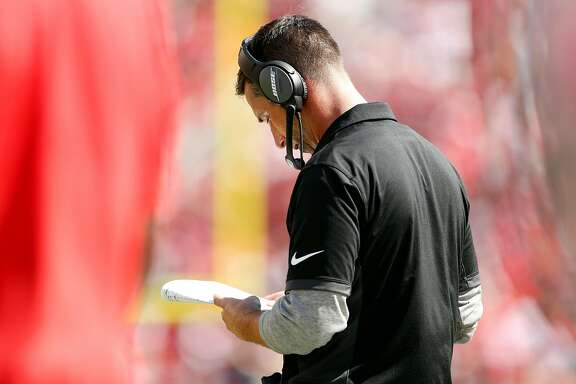 San Francisco 49ers' head coach Kyle Shanahan in 2nd quarter against Carolina Panthers during NFL game at Levi's Stadium in Santa Clara, Calif., on Sunday, September 10, 2017.