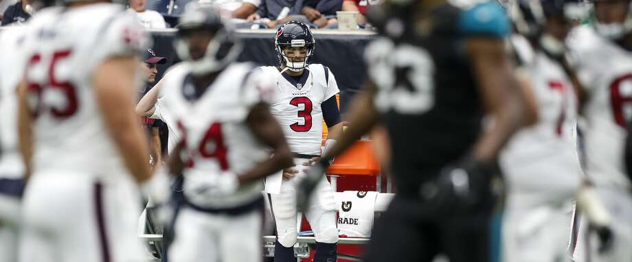 Houston Texans quarterback Tom Savage (3) stands on the sidelines after he was benched in the second half of the Texans 29-7 loss to the Jacksonville Jaguars at NRG Stadium on Sunday, Sept. 10, 2017, in Houston. ( Brett Coomer / Houston Chronicle ) Photo: Brett Coomer/Houston Chronicle