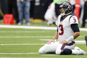 Houston Texans quarterback Tom Savage kneels on the field after giving up a fumble that was returned 53-yard for a touchdown by Jacksonville Jaguars defensive end Dante Fowler during the second quarter of an NFL football game at NRG Stadium on Sunday, Sept. 10, 2017, in Houston. ( Brett Coomer / Houston Chronicle )