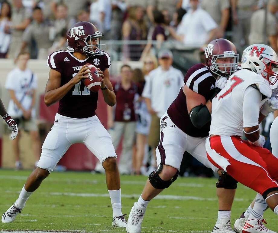 Kellen Mond completed 12 of 21 passes for 105 yards while playing into the third quarter of Texas A&M's victory. Photo: Bob Levey, Stringer / 2017 Getty Images