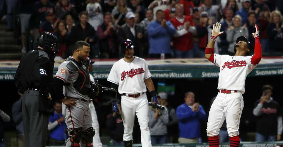 CLEVELAND, OH - SEPTEMBER 10:  Francisco Lindor #12 of the Cleveland Indians celebrates at home plate after hitting a home run against the Baltimore Orioles in the sixth inning at Progressive Field on September 10, 2017 in Cleveland, Ohio. (Photo by David Maxwell/Getty Images) Photo: David Maxwell/Getty Images