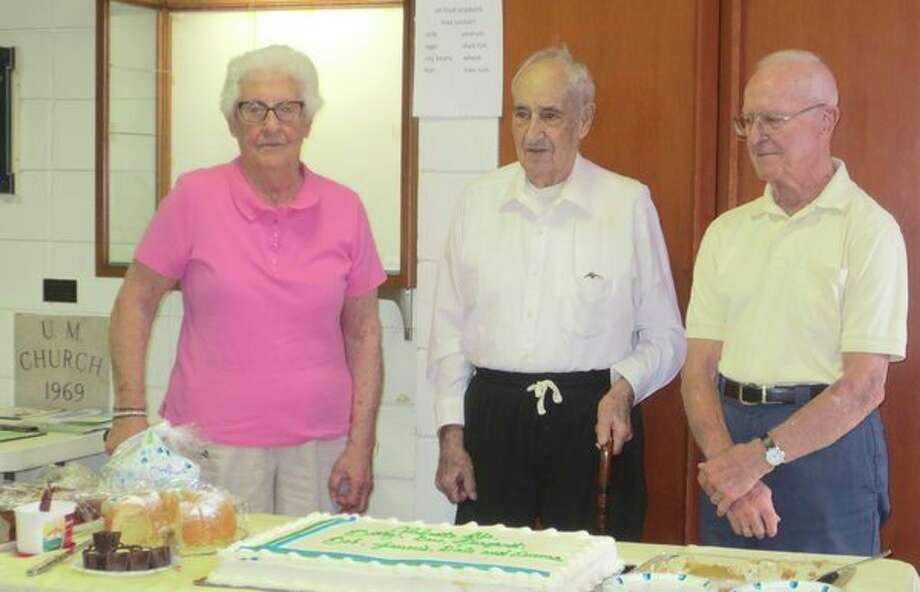 Betty June Jacobs, Donald Bloomfield and Robert Moe celebratebirthdays at Poseyville United Methodist Church. (Photo provided)