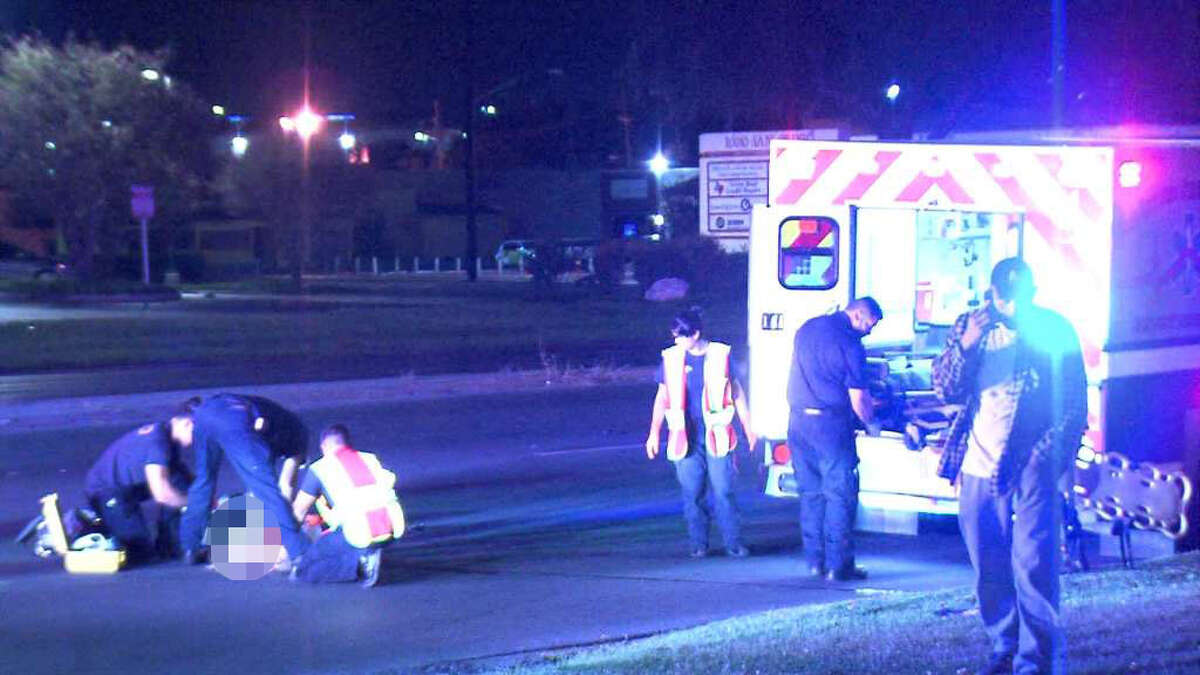 The victim was crossing the street in front of a Whataburger around 1:30 a.m. in the 10000 block of San Pedro Avenue when the driver struck him with his blue Toyota pickup truck.