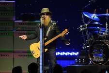 Dusty Hill of ZZ Top performs during their Tonnage Tour at the Smart Financial Centre in Sugarland Sunday Sept. 10, 2017.(Dave Rossman Photo)