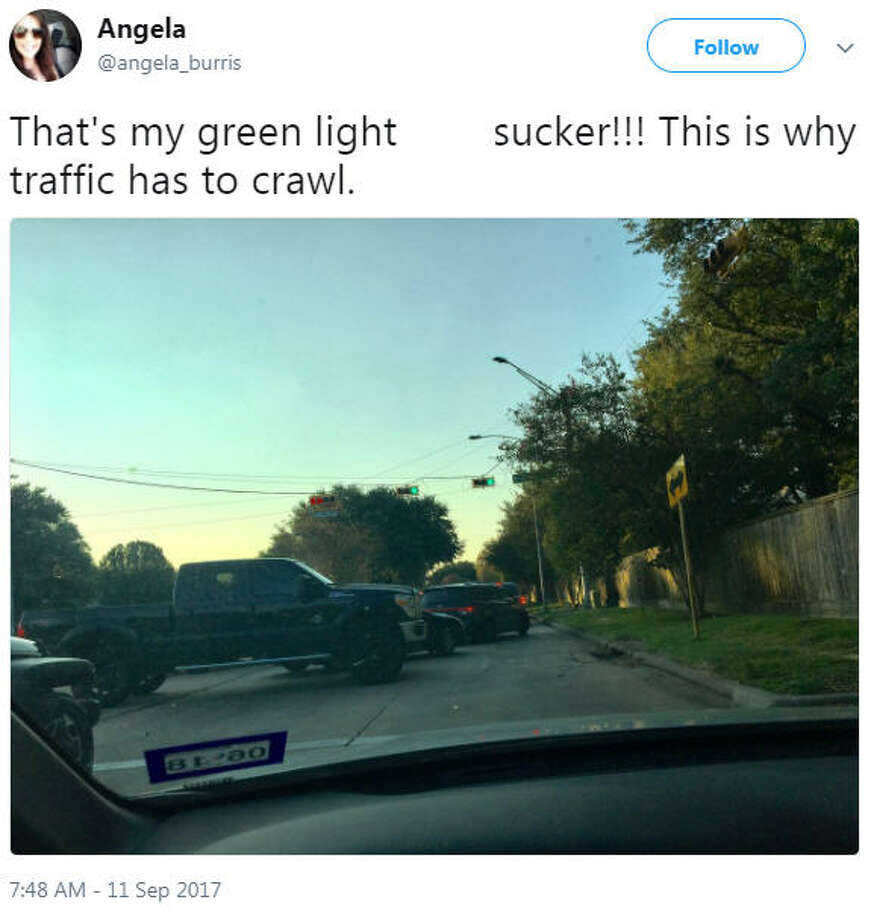 """That's my green light ****sucker!!! This is why traffic has to crawl.""Source: Twitter Photo: Twitter"