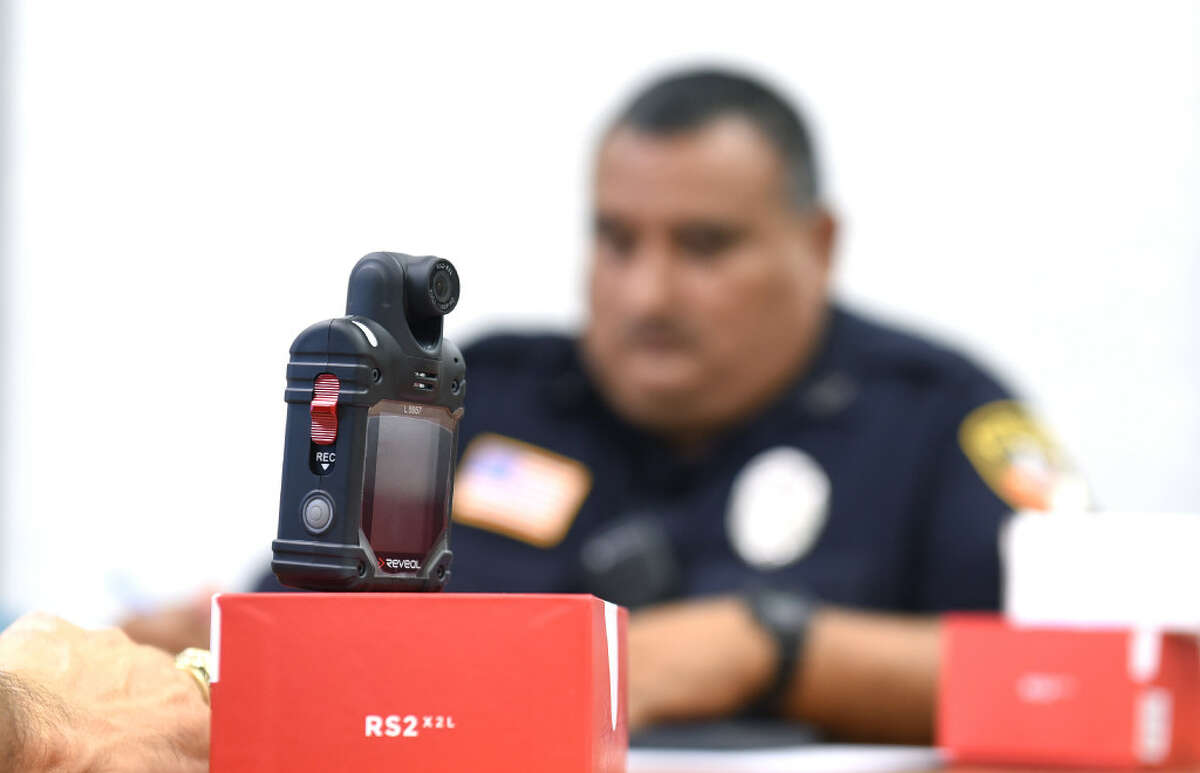 Laredo Independent School District officers undergo training on September 8, 2017 at the LISD Technology Center, for new body cameras to be worn while on patrol.
