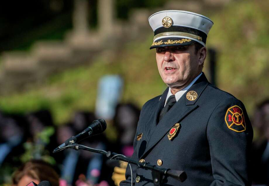 John Betor, Lt. Colonie(ret), Assistant Fire Chief, Saratoga Springs(ret) welcomes the gathering at the Saratoga Springs 9/11 Remembrance Ceremony in High Rock Park Monday September 11, 2017 in Saratoga Springs, N.Y.    (Skip Dickstein/Times Union) Photo: SKIP DICKSTEIN, Albany Times Union / 40041506A