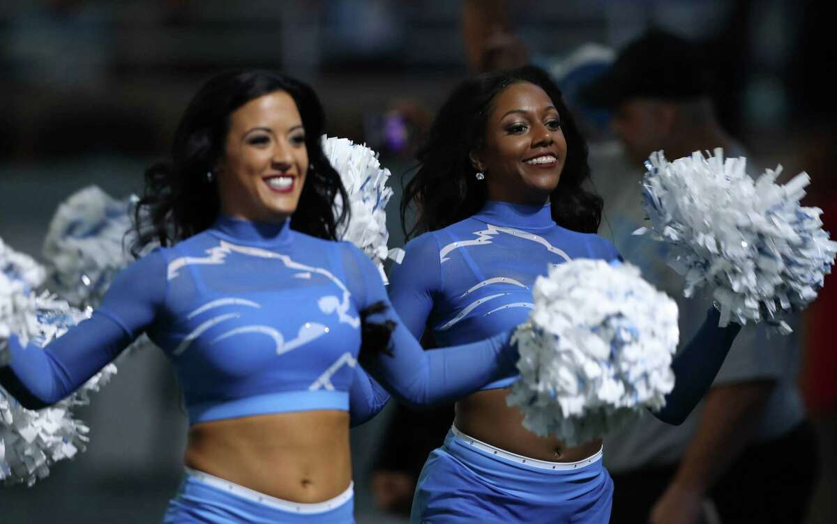 Detroit Lions cheerleaders take the field before action against the Arizona Cardinals on Sunday, Sept. 10, 2017 at Ford Field Detroit, Mich.