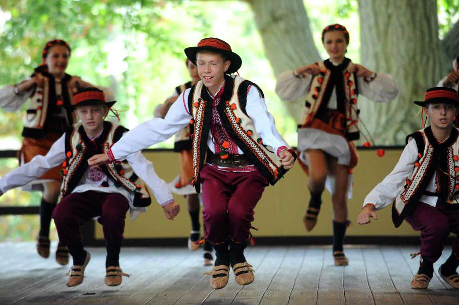 Students from the Zolotyj Promin Ukrainian Dance Ensemble, from Hartford, Conn., dance during the 50th annual Connecticut State Ukrainian Day festival at St. Basil's Seminary on Glenbrook Road in Stamford, Conn. on Sunday, Sept. 10, 2017. Photo: Michael Cummo / Hearst Connecticut Media / Stamford Advocate