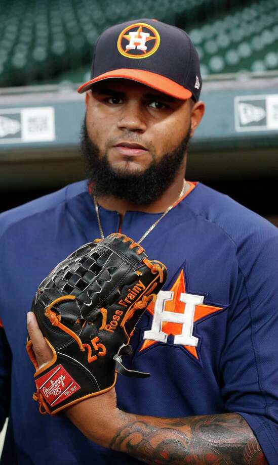 """Astros reliever Frances Martes has the name of his daughter stitched into his glove. """"Because of her is the reason I go to the mound."""" Photo: Karen Warren, Staff Photographer / @ 2017 Houston Chronicle"""