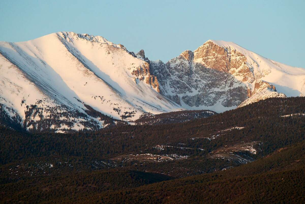 Rising in Nevada's Great Basin National Park is 13,063-foot Wheeler Peak (left), and its next-door neighbor, the slightly less tall Jeff Davis Peak. Wheeler Peak is Nevada's second highest summit and shades the farthest south permanent snowfield in the U.S.