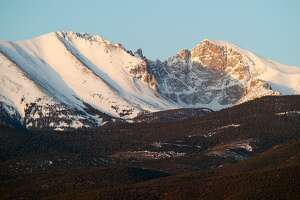 Nevada, Great Basin National Park, 13,063 foot Wheeler Peak and Jeff Davis Peak in at sunrise. Wheeler Peak is Nevada's second highest summit and shades the farthest south permanent snowfield in the US.