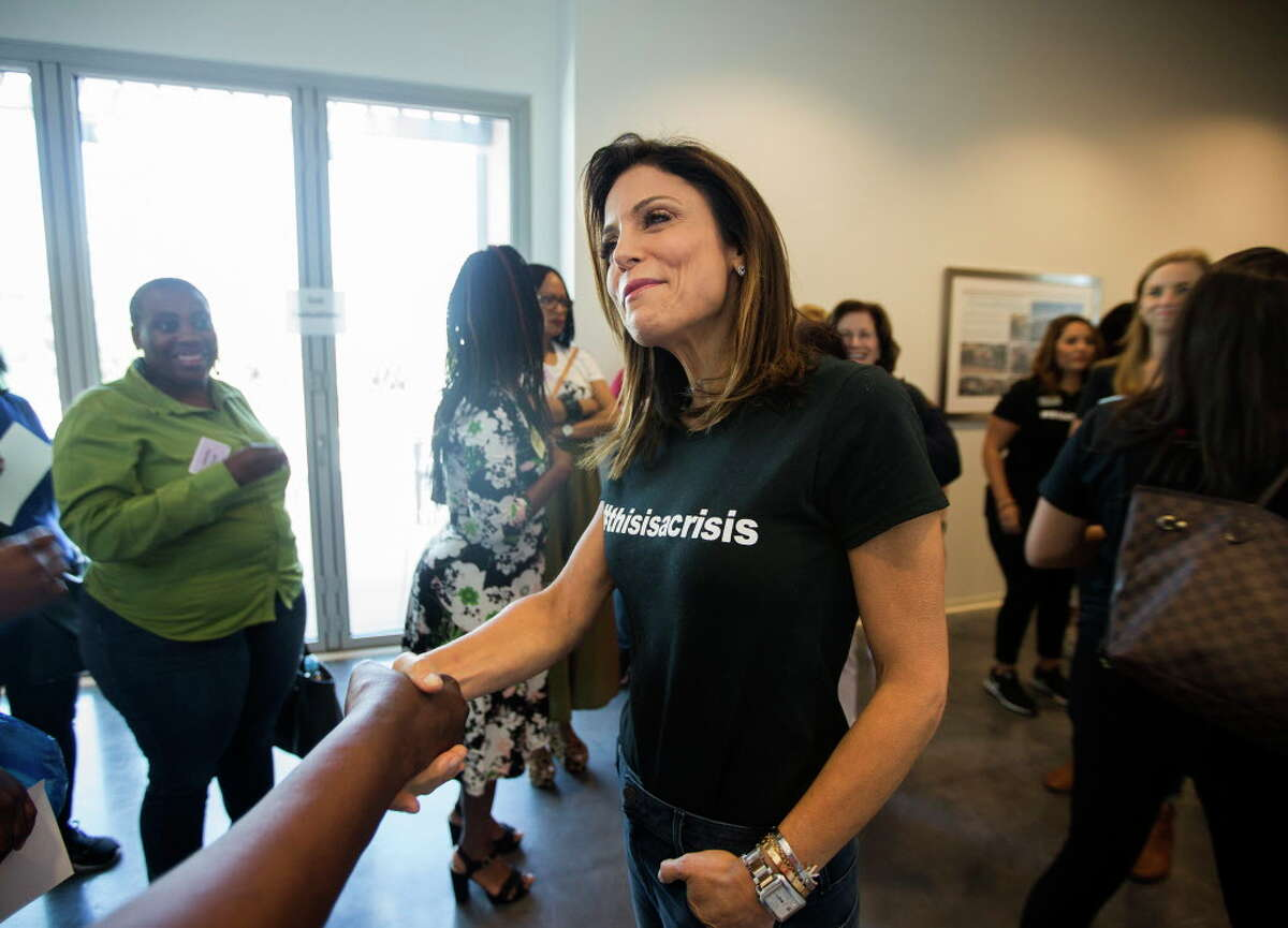 """""""Real Housewives of New York"""" reality TV star Bethenny Frankel surprises Dress For Success Houston participants during a special Harvey relief drive on Saturday, Sept. 8, 2017, in Houston."""