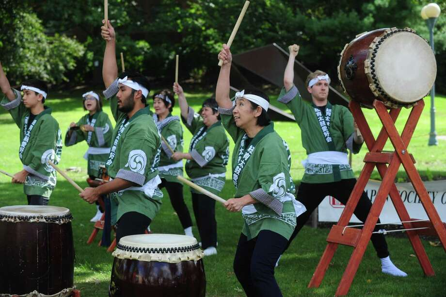New York Taiko Aiko Kai gives a drum performance during the 24th annual Japan Society of Fairfield County Bon Odori style Japanese Fall Festival Saturday, September 9, 2017, on Westport's Jesup Green in Wesporrt, Conn. Photo: Erik Trautmann / Hearst Connecticut Media / Norwalk Hour