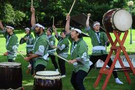 New York Taiko Aiko Kai gives a drum performance during the 24th annual Japan Society of Fairfield County Bon Odori style Japanese Fall Festival Saturday, September 9, 2017, on Westport's Jesup Green in Wesporrt, Conn.