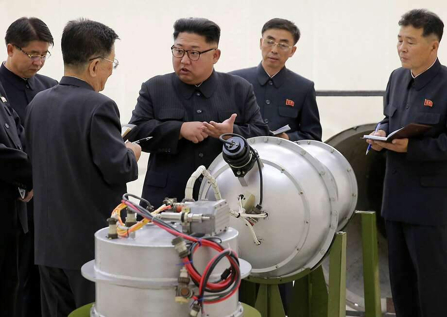 This undated file image distributed on Sunday, Sept. 3, 2017, by the North Korean government, shows North Korean leader Kim Jong Un at an undisclosed location. North Korea's latest nuclear test was part theater, part propaganda and maybe even part fake. But experts say it was also a major display of something very real: Pyongyang's mastery of much of the know-how it needs to reach its decades-old goal of becoming a full-fledged nuclear state.  The jury is still out on whether North Korea tested, as it claims, a hydrogen bomb ready to be mounted on an ICBM.  (Korean Central News Agency/Korea News Service via AP, File) Photo: Associated Press