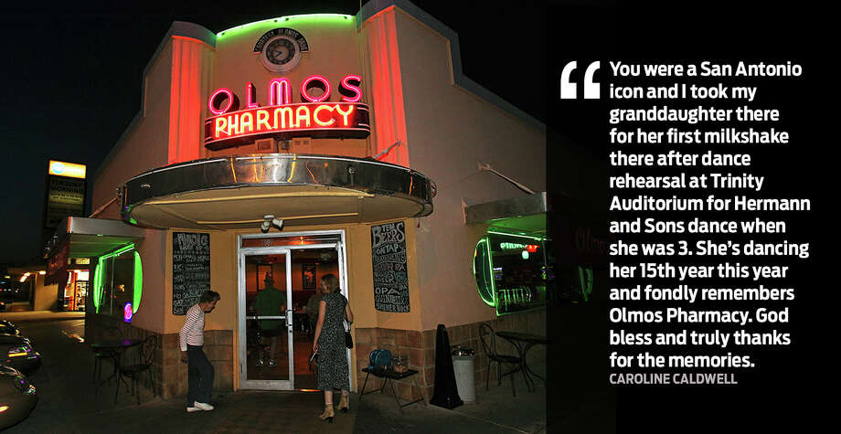 """You were a San Antonio icon and I took my granddaughter for her first milkshake there after dance rehearsal at Trinity Auditorium for Hermann and Sons dance when she was 3. She's dancing her 15th year this year and fondly refers to Olmos Pharmacy. God bless and truly thanks for the memories."" - Caroline CaldwellSan Antonians recall fond memories of Olmos Pharmacy after its manager announced on Sept. 9, 2017, that the business would close after 79-years. Photo: Tom Reel, Express-News File Photo"