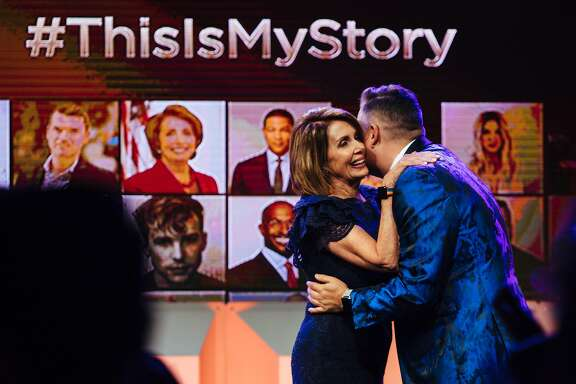 Ross Mathews hugs surprise speaker, House Minority Leader Nancy Pelosi during the 2017 GLAAD Gala at the Metreon in San Francisco, Calif. Saturday, September 9, 2017.