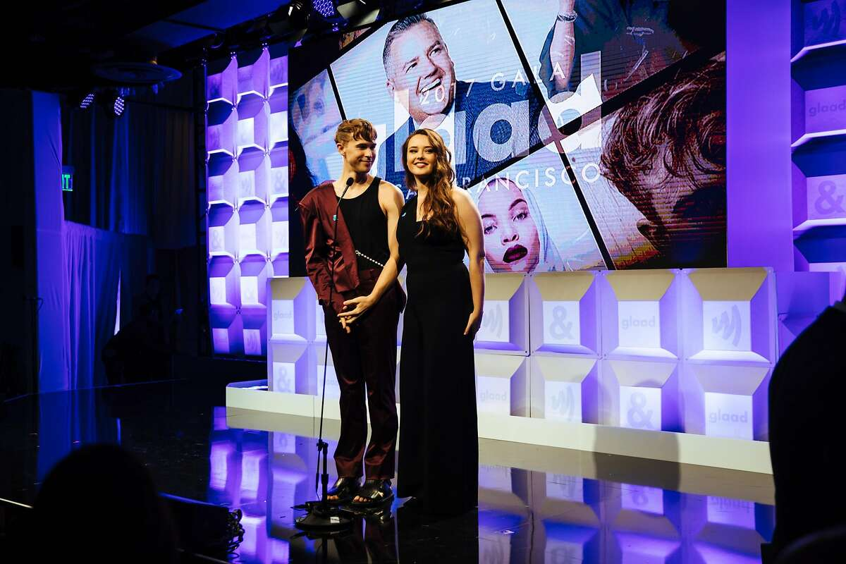Tommy Dorfman and Katherine Langford introduce the next speaker during the 2017 GLAAD Gala at the Metreon in San Francisco, Calif. Saturday, September 9, 2017.