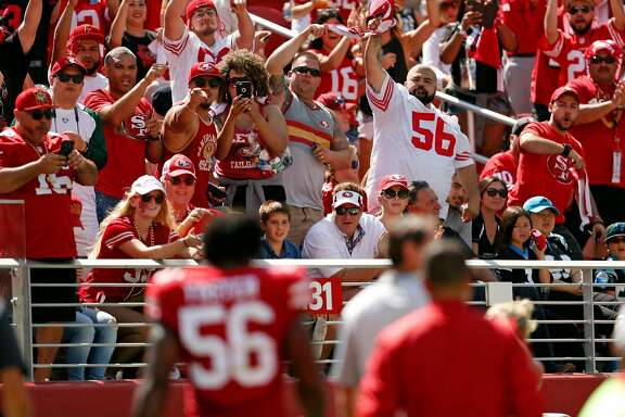 San Francisco 49ers' fans cheer as Reuben Foster returns to the field after he was injured against Carolina Panthers during NFL game at Levi's Stadium in Santa Clara, Calif., on Sunday, September 10, 2017.