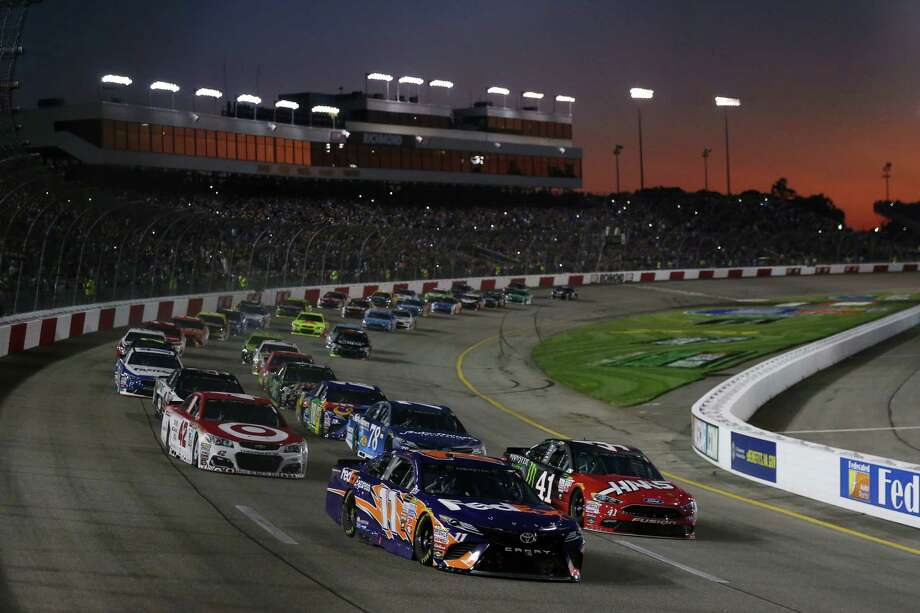 RICHMOND, VA - SEPTEMBER 09:  Denny Hamlin, driver of the #11 FedEx Express Toyota, leads a pack of cars during the Monster Energy NASCAR Cup Series Federated Auto Parts 400 at Richmond Raceway on September 9, 2017 in Richmond, Virginia.  (Photo by Sean Gardner/Getty Images) Photo: Sean Gardner, Stringer / 2017 Getty Images