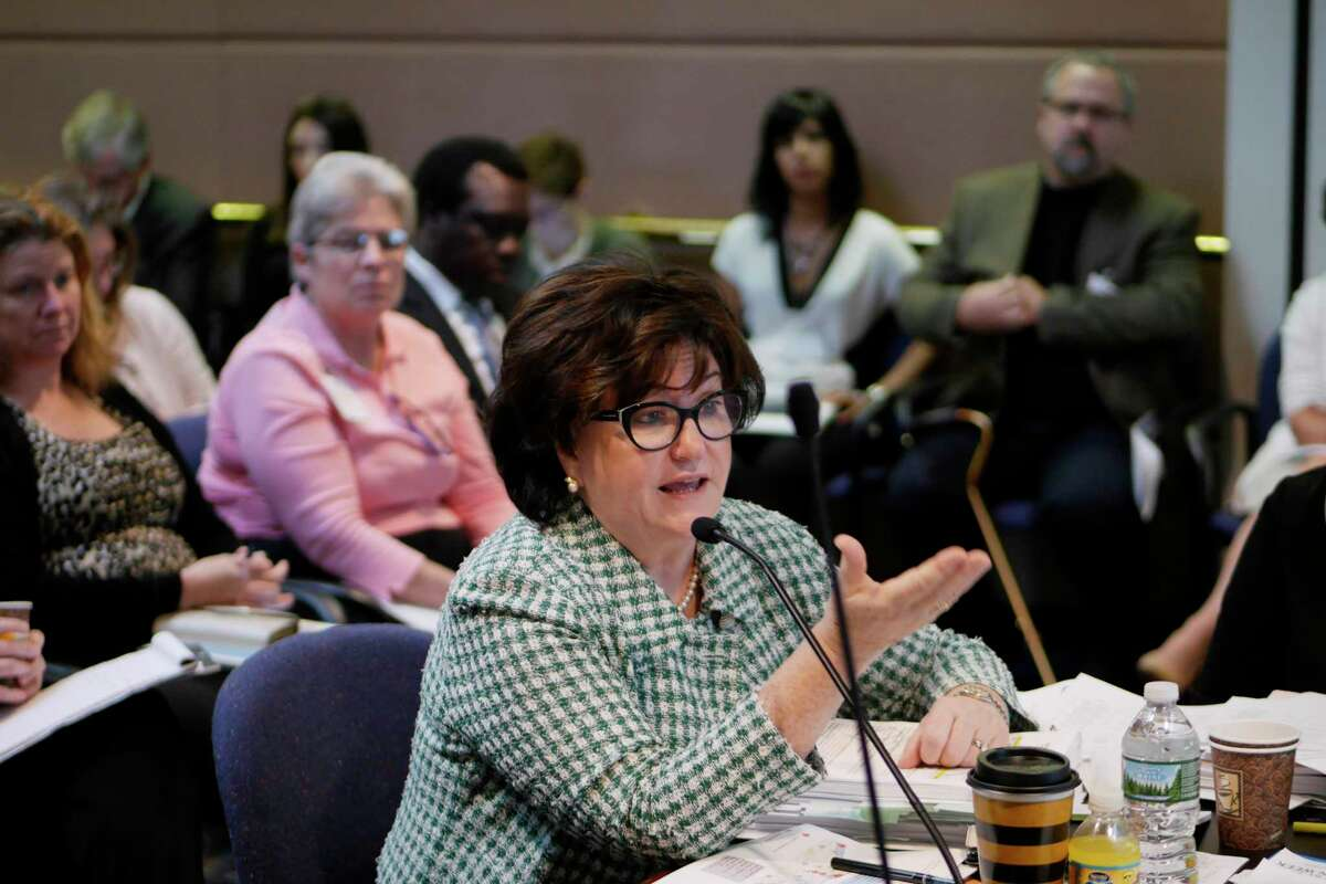 New York State Commissioner of Education, MaryEllen Elia, addresses those gathered at a meeting of the New York State Board of Regents at the State Education Department on Monday, Sept. 11, 2017, in Albany, N.Y. The board discussed school standards at the meeting. (Paul Buckowski / Times Union)
