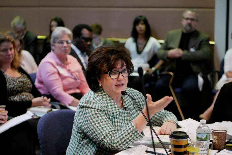 New York State Commissioner of Education, MaryEllen Elia, addresses those gathered at a meeting of the New York State Board of Regents at the State Education Department on Monday, Sept. 11, 2017, in Albany, N.Y.  The board discussed school standards at the meeting.   (Paul Buckowski / Times Union) Photo: PAUL BUCKOWSKI, Albany Times Union / 40041514A
