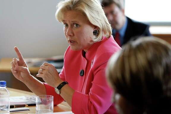 In this 2008 photo, U.S. Sen. Mary Landrieu, D-La, speaks during the Oxfam America Hurricane Katrina recovery roundtable in Denver. (AP Photo/Matt Sayles)