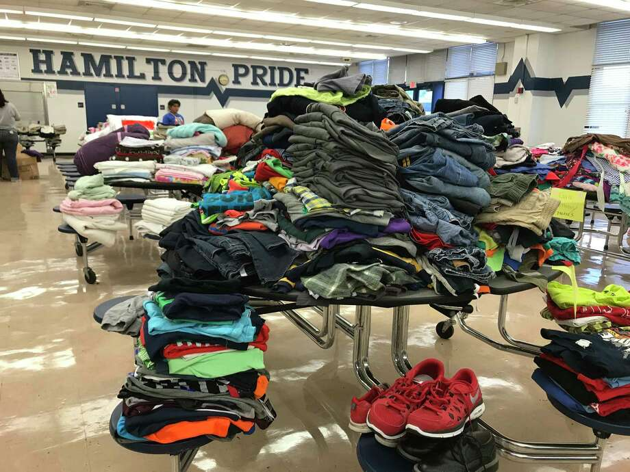 Hamilton Middle School is coordinating donations and will open doors to those in need on Thursday. Photo: Jaimy Jones / Houston Chronicle