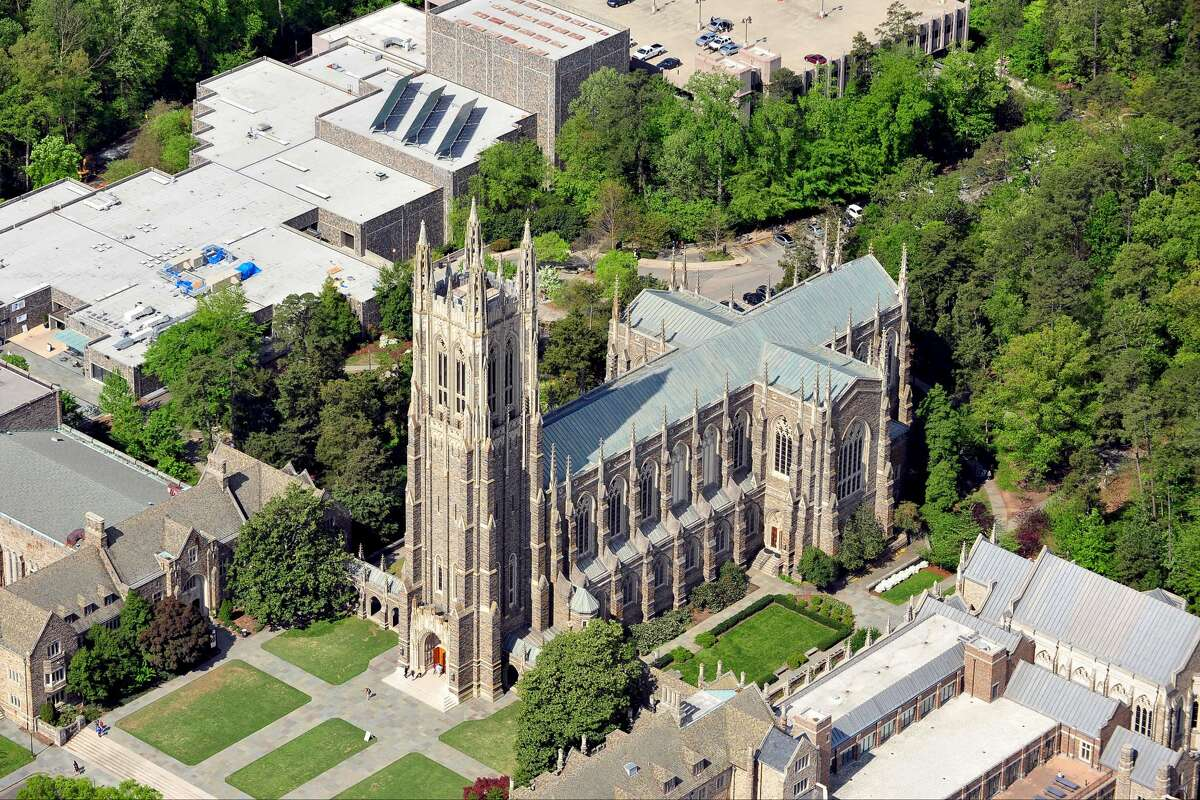 DURHAM, NC - APRIL 21: An aerial view of the Duke Chapel on the campus of Duke University on April 21, 2013 in Durham, North Carolina. (Photo by Lance King/Getty Images)