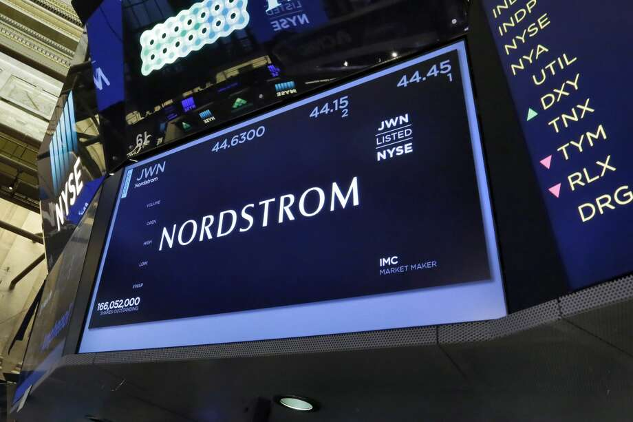 The Nordstrom name appears above a trading post on the floor of the New York Stock Exchange, Friday, June 9, 2017. Photo: Richard Drew/AP