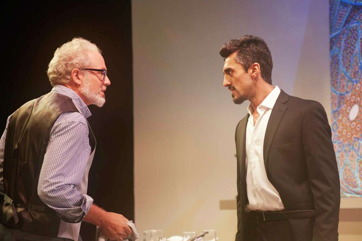 """Philip Lehl, left, and Gopal Divan appear in 4th Wall Theatre Company's production of """"Disgraced."""""""