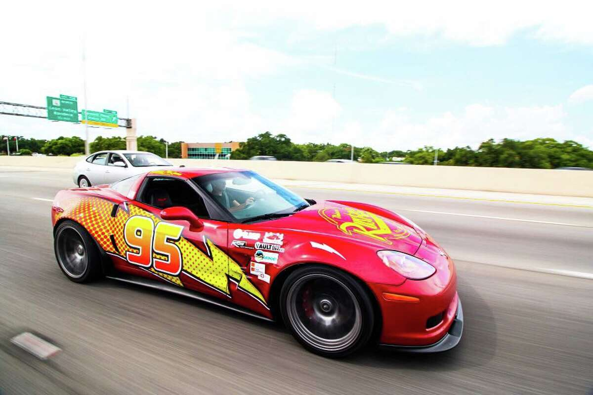 Brian Hutchinson spent 18 months and more than $50,000 transforming his corvette into Lightning Mcqueen, from the Pixar movie